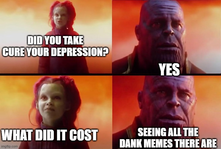thanos what did it cost |  DID YOU TAKE CURE YOUR DEPRESSION? YES; WHAT DID IT COST; SEEING ALL THE DANK MEMES THERE ARE | image tagged in thanos what did it cost | made w/ Imgflip meme maker