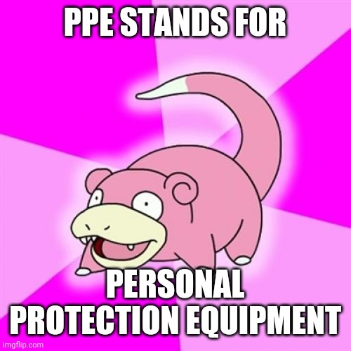 I had to Figure it out On My Own |  PPE STANDS FOR; PERSONAL PROTECTION EQUIPMENT | image tagged in memes,slowpoke,ppe | made w/ Imgflip meme maker