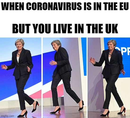Double Roast | WHEN CORONAVIRUS IS IN THE EU BUT YOU LIVE IN THE UK | image tagged in theresa may walking,memes,funny memes,coronavirus,brexit,corona | made w/ Imgflip meme maker