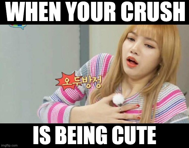 Blackpink |  WHEN YOUR CRUSH; IS BEING CUTE | image tagged in blackpink,lisa blackpink,gasp,when your crush | made w/ Imgflip meme maker