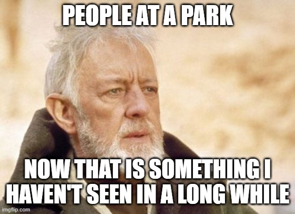 Obi wan kenobi |  PEOPLE AT A PARK; NOW THAT IS SOMETHING I HAVEN'T SEEN IN A LONG WHILE | image tagged in memes,obi wan kenobi | made w/ Imgflip meme maker