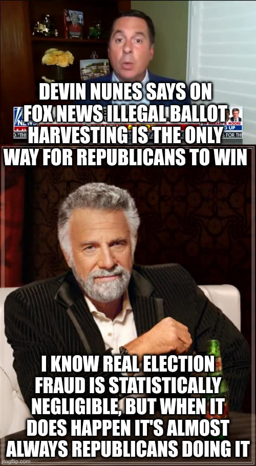 So the only way to combat imaginary voter fraud is with real voter fraud? |  DEVIN NUNES SAYS ON FOX NEWS ILLEGAL BALLOT HARVESTING IS THE ONLY WAY FOR REPUBLICANS TO WIN; I KNOW REAL ELECTION FRAUD IS STATISTICALLY NEGLIGIBLE, BUT WHEN IT DOES HAPPEN IT'S ALMOST ALWAYS REPUBLICANS DOING IT | image tagged in devin nunes,humor,ballot harvesting,illegal,republicans | made w/ Imgflip meme maker