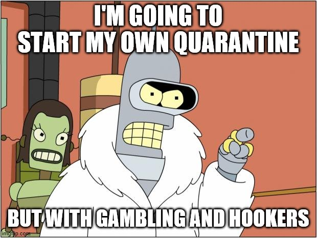 If you want us not to complain about the quarantine ... |  I'M GOING TO START MY OWN QUARANTINE; BUT WITH GAMBLING AND HOOKERS | image tagged in bender,qaurantine | made w/ Imgflip meme maker