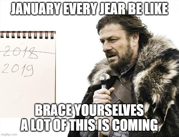 Brace Yourselves X is Coming |  JANUARY EVERY JEAR BE LIKE; BRACE YOURSELVES A LOT OF THIS IS COMING | image tagged in memes,brace yourselves x is coming | made w/ Imgflip meme maker