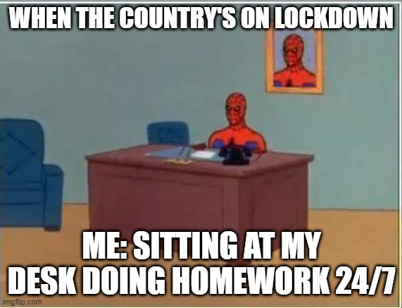 Spiderman Computer Desk |  WHEN THE COUNTRY'S ON LOCKDOWN; ME: SITTING AT MY DESK DOING HOMEWORK 24/7 | image tagged in memes,spiderman computer desk,spiderman | made w/ Imgflip meme maker