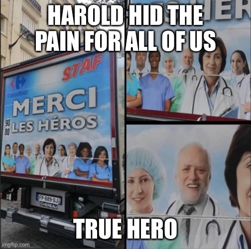 True Hero |  HAROLD HID THE PAIN FOR ALL OF US; TRUE HERO | image tagged in hide the pain harold,hero | made w/ Imgflip meme maker