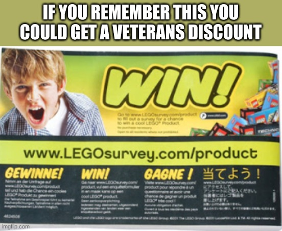 IF YOU REMEMBER THIS YOU COULD GET A VETERANS DISCOUNT | image tagged in lego survey win | made w/ Imgflip meme maker