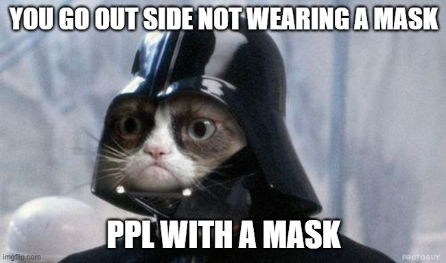 Darth Grump demands you to put a mask on! |  YOU GO OUT SIDE NOT WEARING A MASK; PPL WITH A MASK | image tagged in memes,grumpy cat star wars,grumpy cat | made w/ Imgflip meme maker