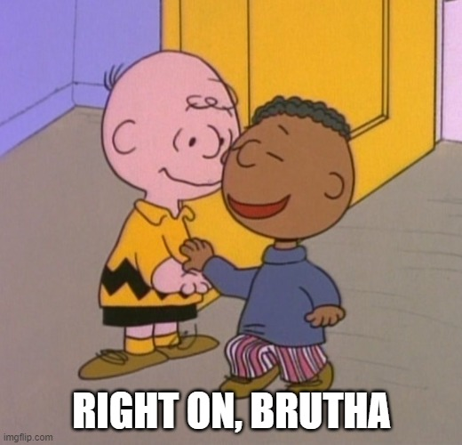 Charlie Brown and Franklin high five | RIGHT ON, BRUTHA | image tagged in charlie brown and franklin high five | made w/ Imgflip meme maker
