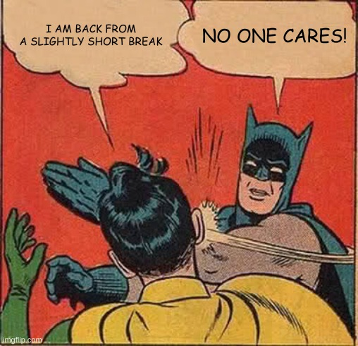 I probably missed nothing but hi |  I AM BACK FROM A SLIGHTLY SHORT BREAK; NO ONE CARES! | image tagged in memes,batman slapping robin | made w/ Imgflip meme maker