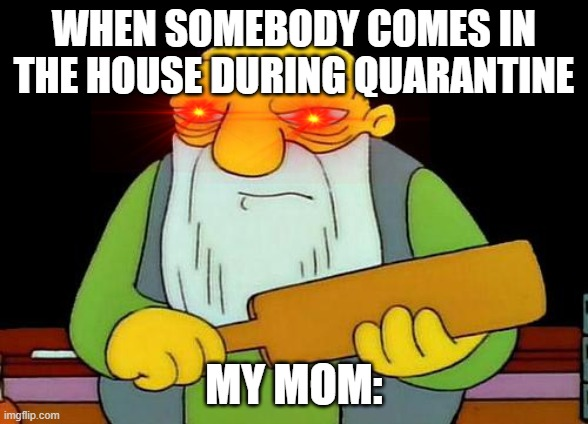 That's a paddlin' |  WHEN SOMEBODY COMES IN THE HOUSE DURING QUARANTINE; MY MOM: | image tagged in memes,that's a paddlin' | made w/ Imgflip meme maker