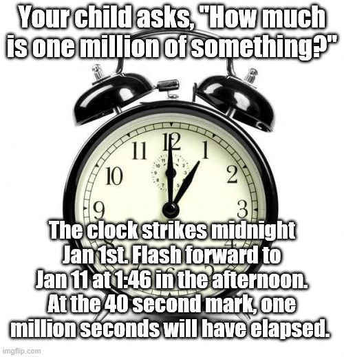 "Trivia |  Your child asks, ""How much is one million of something?""; The clock strikes midnight Jan 1st. Flash forward to Jan 11 at 1:46 in the afternoon. At the 40 second mark, one million seconds will have elapsed. 