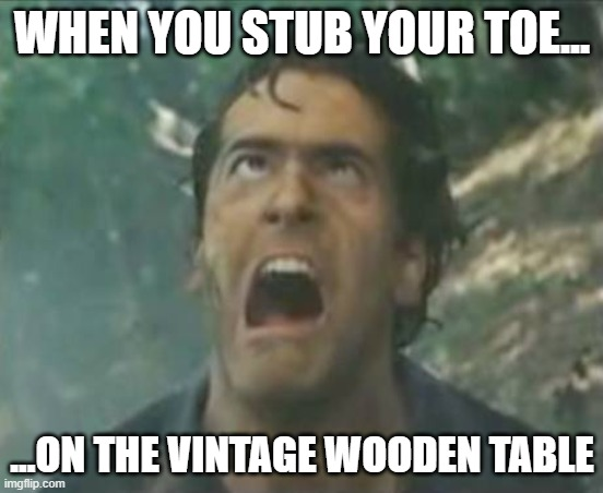 ow |  WHEN YOU STUB YOUR TOE... ...ON THE VINTAGE WOODEN TABLE | image tagged in agony ash - evil dead | made w/ Imgflip meme maker