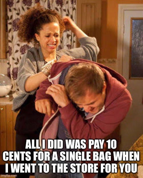 This Really Happened to Me |  ALL I DID WAS PAY 10 CENTS FOR A SINGLE BAG WHEN I WENT TO THE STORE FOR YOU | image tagged in battered husband | made w/ Imgflip meme maker