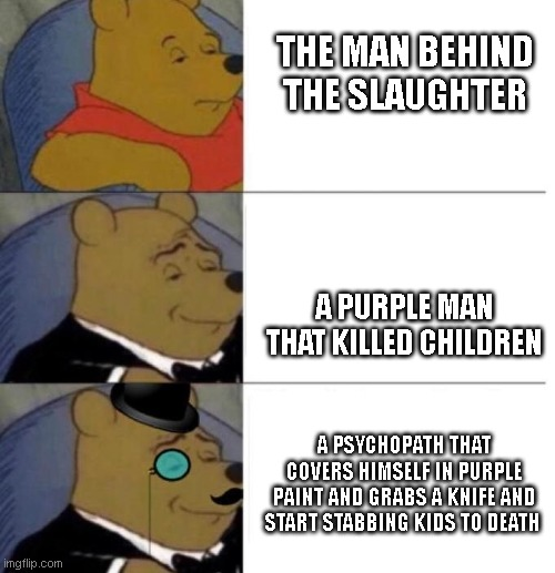 Interesting |  THE MAN BEHIND THE SLAUGHTER; A PURPLE MAN THAT KILLED CHILDREN; A PSYCHOPATH THAT COVERS HIMSELF IN PURPLE PAINT AND GRABS A KNIFE AND START STABBING KIDS TO DEATH | image tagged in tuxedo winnie the pooh 3 panel,fnaf,the man behind the slaughter,fnaf 2,fnaf 3,fnaf 4 | made w/ Imgflip meme maker