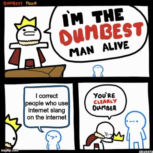 I'm the dumbest man alive |  I correct people who use internet slang on the internet | image tagged in i'm the dumbest man alive | made w/ Imgflip meme maker