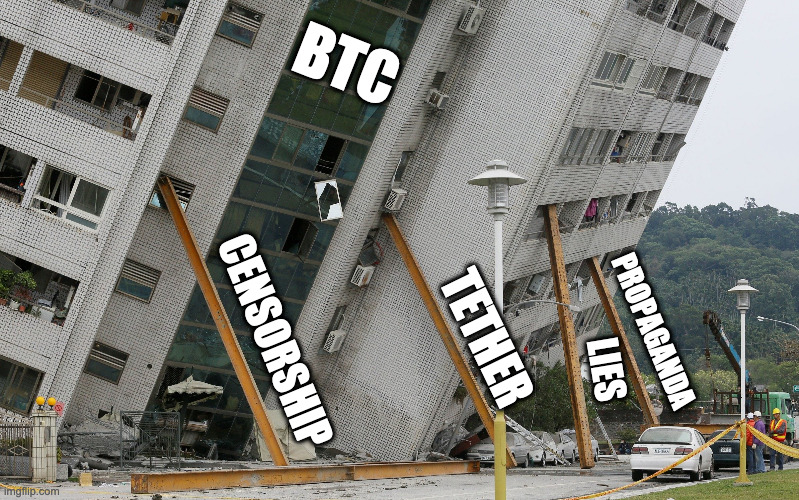 Bitcoin BTC leaning building |  BTC; CENSORSHIP; TETHER; PROPAGANDA; LIES | image tagged in leaning building | made w/ Imgflip meme maker