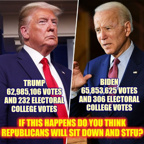 They're Hypocrites So No |  BIDEN 65,853,625 VOTES AND 306 ELECTORAL COLLEGE VOTES; TRUMP 62,985,106 VOTES AND 232 ELECTORAL COLLEGE VOTES; IF THIS HAPPENS DO YOU THINK REPUBLICANS WILL SIT DOWN AND STFU? | image tagged in trump biden,memes,trump unfit unqualified dangerous,electoral college,we the people,scumbag republicans | made w/ Imgflip meme maker