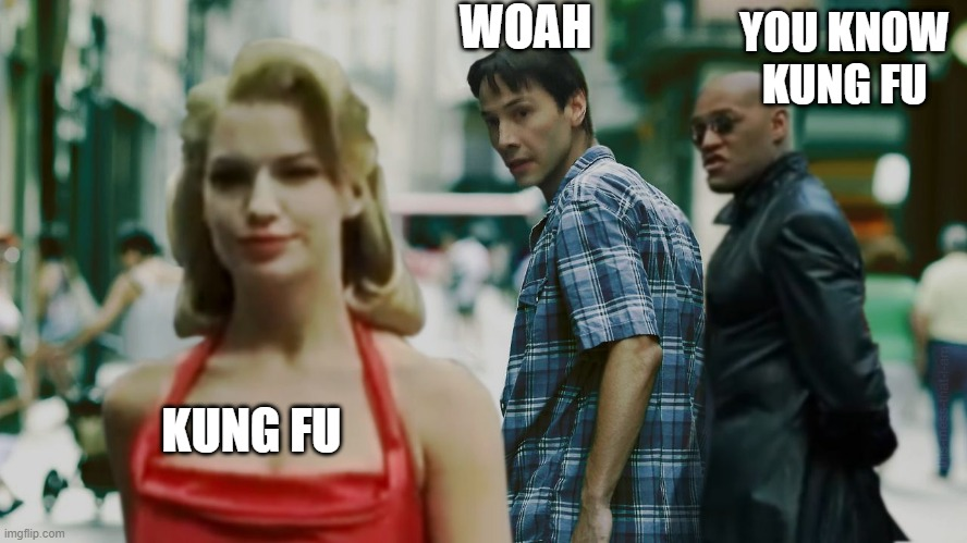 WOAH; YOU KNOW KUNG FU; KUNG FU | image tagged in woman red dress girls | made w/ Imgflip meme maker
