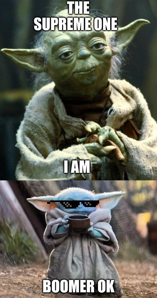 THE SUPREME ONE; I AM; BOOMER OK | image tagged in memes,star wars yoda | made w/ Imgflip meme maker
