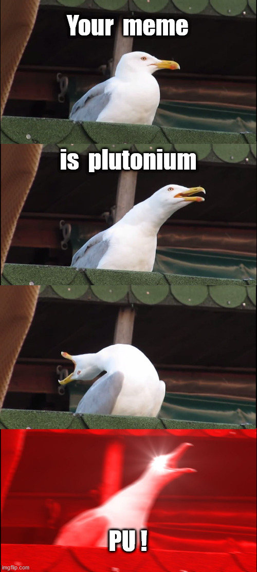 Inhaling Seagull Meme | Your  meme is  plutonium PU ! | image tagged in memes,inhaling seagull | made w/ Imgflip meme maker
