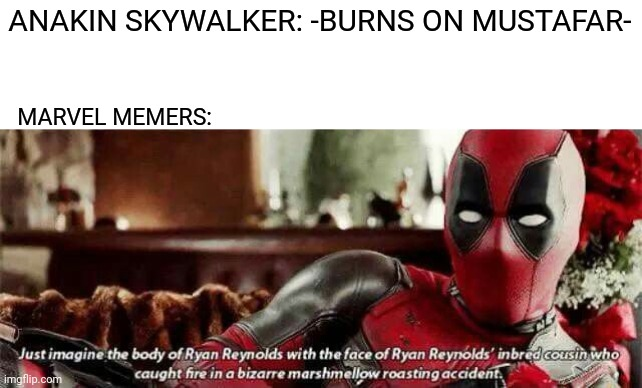 ANAKIN SKYWALKER: -BURNS ON MUSTAFAR-; MARVEL MEMERS: | image tagged in memes,funny,star wars prequels,marvel,anakin skywalker,deadpool | made w/ Imgflip meme maker