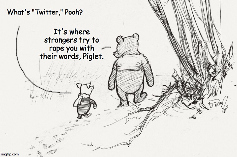 "Pooh and Piglet |  What's ""Twitter,"" Pooh? It's where strangers try to rape you with their words, Piglet. 