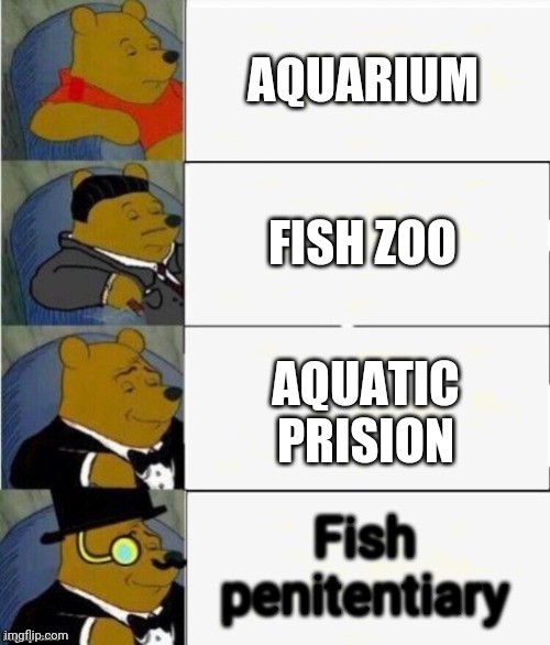 Tuxedo Winnie the Pooh 4 panel |  AQUARIUM; FISH ZOO; AQUATIC PRISION; Fish penitentiary | image tagged in tuxedo winnie the pooh 4 panel | made w/ Imgflip meme maker