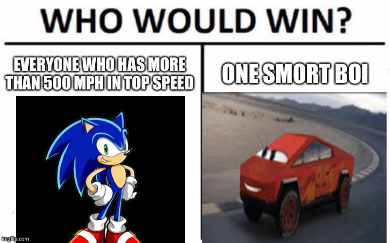 Who Would Win? Meme | EVERYONE WHO HAS MORE THAN 500 MPH IN TOP SPEED ONE SMORT BOI | image tagged in memes,who would win | made w/ Imgflip meme maker