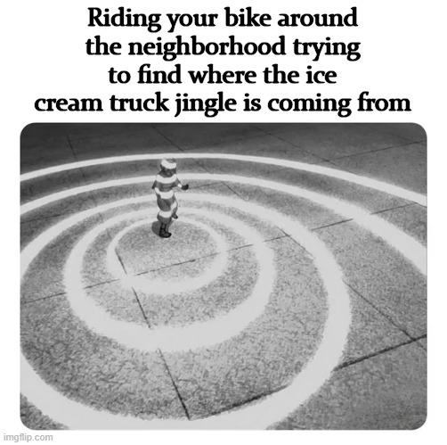 Riding your bike around the neighborhood trying to find where the ice cream truck jingle is coming from | image tagged in echolocation | made w/ Imgflip meme maker