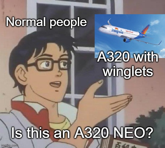 Is This A Pigeon Meme |  Normal people; A320 with winglets; Is this an A320 NEO? | image tagged in memes,is this a pigeon,aviation,airbus | made w/ Imgflip meme maker