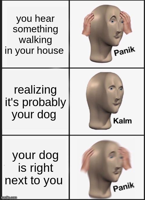 Panik Kalm Panik |  you hear something walking in your house; realizing it's probably your dog; your dog is right next to you | image tagged in memes,panik kalm panik,fun | made w/ Imgflip meme maker