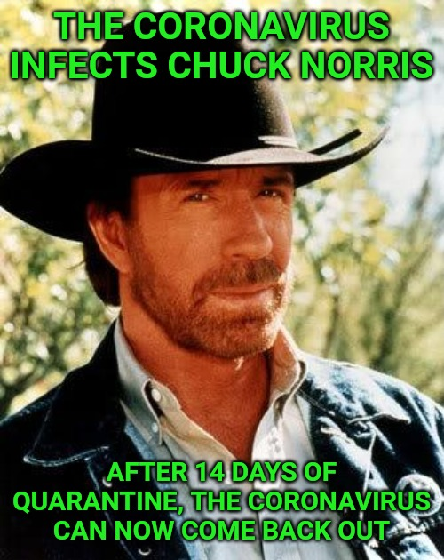 Chuck Norris |  THE CORONAVIRUS INFECTS CHUCK NORRIS; AFTER 14 DAYS OF QUARANTINE, THE CORONAVIRUS CAN NOW COME BACK OUT | image tagged in memes,chuck norris | made w/ Imgflip meme maker