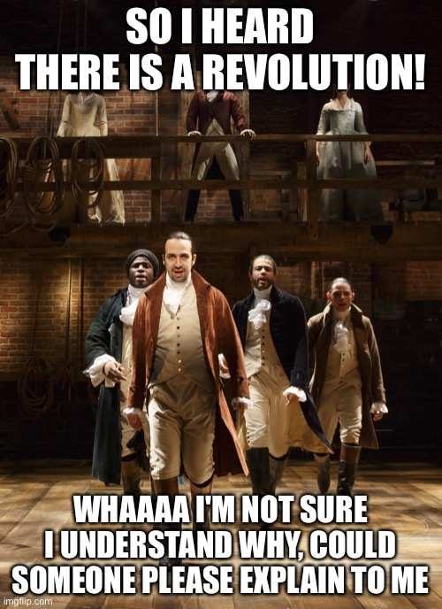 Hamilton |  SO I HEARD THERE IS A REVOLUTION! WHAAAA I'M NOT SURE I UNDERSTAND WHY, COULD SOMEONE PLEASE EXPLAIN TO ME | image tagged in hamilton | made w/ Imgflip meme maker
