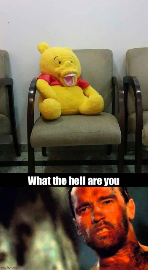 What the hell. | image tagged in wtf,creepy,winnie the pooh | made w/ Imgflip meme maker
