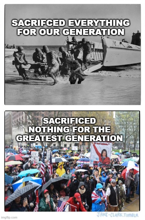 Sacrifice |  SACRIFCED EVERYTHING FOR OUR GENERATION; SACRIFICED NOTHING FOR THE GREATEST GENERATION | image tagged in memes,two buttons | made w/ Imgflip meme maker