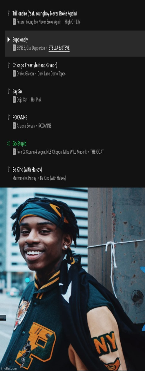 Go stupid back on the spotify top 50 | image tagged in polo g | made w/ Imgflip meme maker