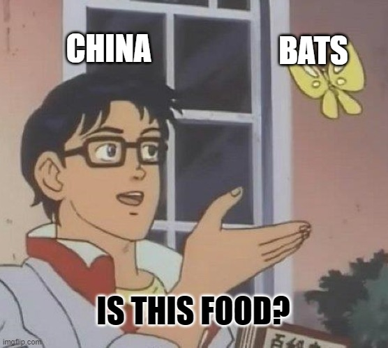 Is This A Pigeon Meme |  CHINA; BATS; IS THIS FOOD? | image tagged in memes,is this a pigeon | made w/ Imgflip meme maker