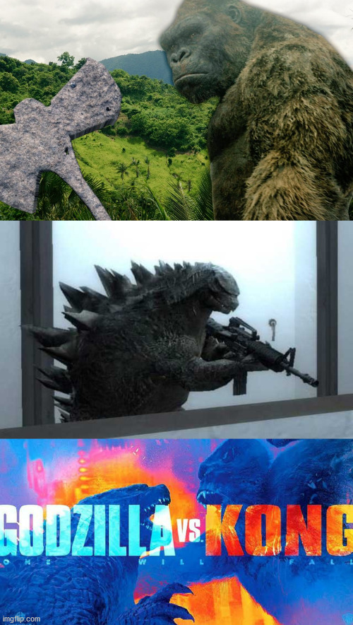 Godzilla vs Kong meme 2 | image tagged in godzilla vs kong,memes,funny,gun,axe,movie | made w/ Imgflip meme maker