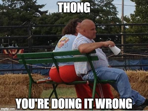 THONG; YOU'RE DOING IT WRONG | image tagged in funny,thong,hot,redneck,wedgie,people of walmart | made w/ Imgflip meme maker
