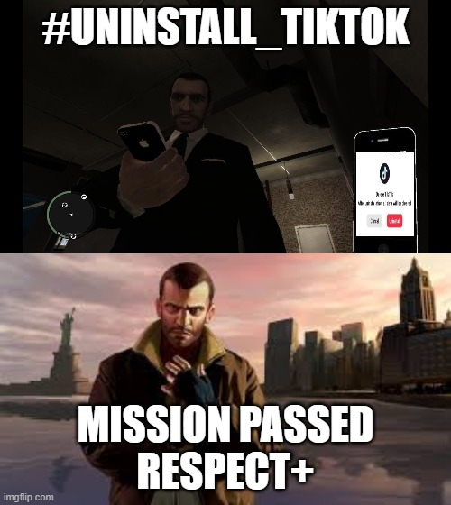 #Unistall_Tiktok, CarryMinati, |  #UNINSTALL_TIKTOK; MISSION PASSED RESPECT+ | image tagged in youtube,gaming,gta,tiktok | made w/ Imgflip meme maker