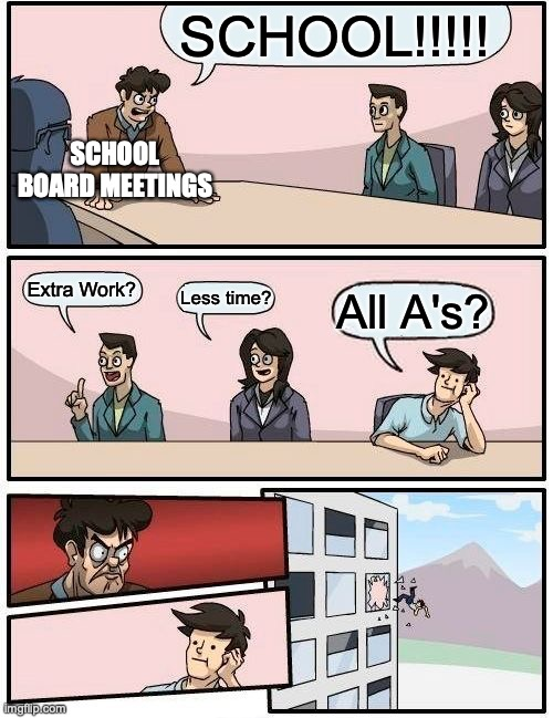 School Board Meetings |  SCHOOL!!!!! SCHOOL BOARD MEETINGS; Extra Work? Less time? All A's? | image tagged in memes,boardroom meeting suggestion | made w/ Imgflip meme maker
