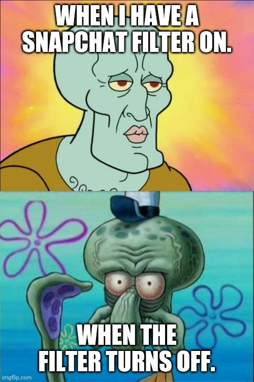 Squidward Meme |  WHEN I HAVE A SNAPCHAT FILTER ON. WHEN THE FILTER TURNS OFF. | image tagged in memes,squidward | made w/ Imgflip meme maker