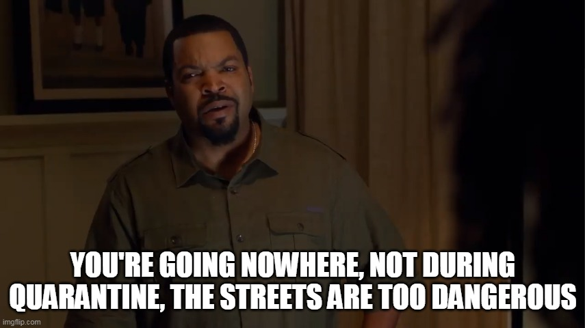 YOU'RE GOING NOWHERE, NOT DURING QUARANTINE, THE STREETS ARE TOO DANGEROUS | image tagged in barbershop,ice cube,quarantine | made w/ Imgflip meme maker