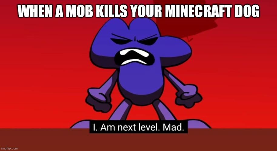 No one kills my dog |  WHEN A MOB KILLS YOUR MINECRAFT DOG | image tagged in bfb i am next level mad,angry,minecraft | made w/ Imgflip meme maker