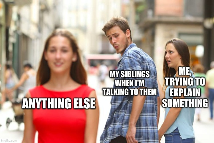I have four younger siblings, and this is all of them |  ME, TRYING TO EXPLAIN SOMETHING; MY SIBLINGS WHEN I'M TALKING TO THEM; ANYTHING ELSE | image tagged in memes,distracted boyfriend | made w/ Imgflip meme maker