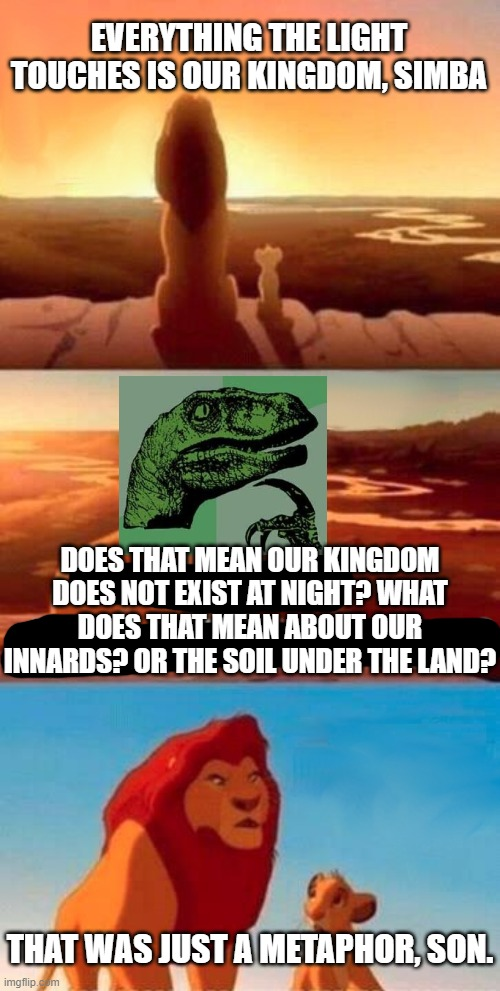 Everything the light touches, huh? Poor choice of words there, Mufasa. |  EVERYTHING THE LIGHT TOUCHES IS OUR KINGDOM, SIMBA; DOES THAT MEAN OUR KINGDOM DOES NOT EXIST AT NIGHT? WHAT DOES THAT MEAN ABOUT OUR INNARDS? OR THE SOIL UNDER THE LAND? THAT WAS JUST A METAPHOR, SON. | image tagged in memes,simba shadowy place,philosoraptor,philosophy,the lion king,mashup | made w/ Imgflip meme maker
