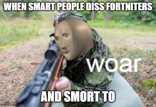 WHEN SMART PEOPLE DISS FORTNITERS AND SMORT TO | image tagged in woar | made w/ Imgflip meme maker