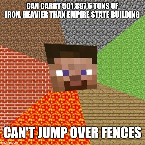 Minecraft Steve |  CAN CARRY 501.897,6 TONS OF IRON, HEAVIER THAN EMPIRE STATE BUILDING; CAN'T JUMP OVER FENCES | image tagged in minecraft steve | made w/ Imgflip meme maker