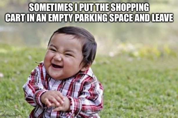 Shopping cart shenanigans |  SOMETIMES I PUT THE SHOPPING CART IN AN EMPTY PARKING SPACE AND LEAVE | image tagged in memes,evil toddler,shenanigans,shopping cart | made w/ Imgflip meme maker
